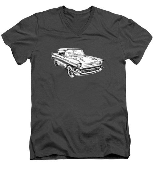 1957 Chevy Bel Air Illustration Men's V-Neck T-Shirt by Keith Webber Jr