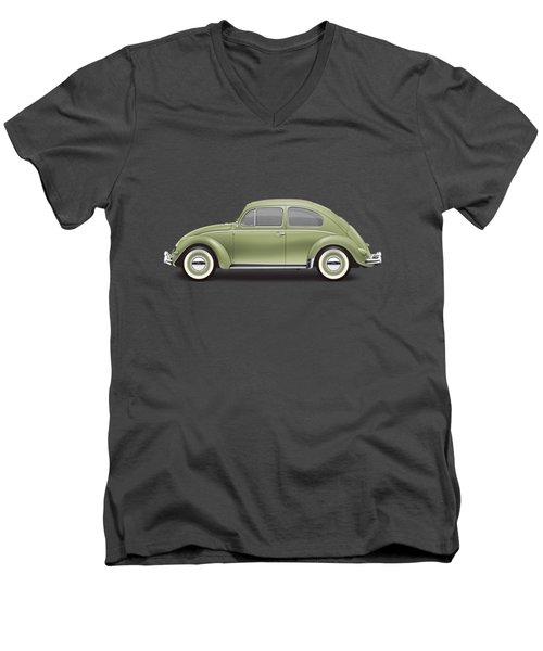 1957 Volkswagen Deluxe Sedan - Diamond Green Men's V-Neck T-Shirt by Ed Jackson