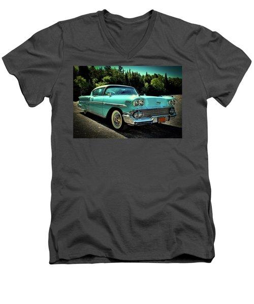 1958 Chevrolet Impala Men's V-Neck T-Shirt by David Patterson
