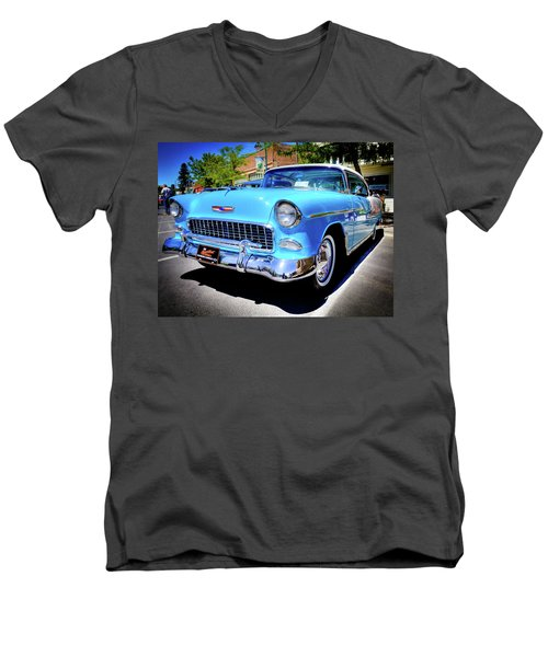 1955 Chevy Baby Blue Men's V-Neck T-Shirt