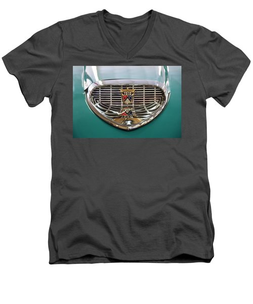Men's V-Neck T-Shirt featuring the digital art 1958 Ford Fairlane Sunliner Intake by Chris Flees
