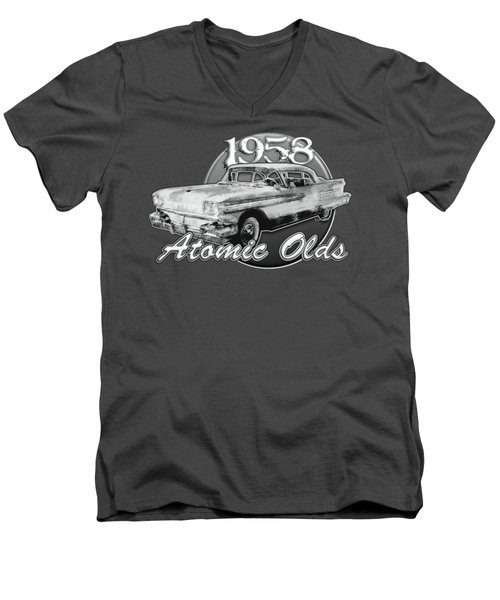 1958 Oldsmobile Hardtop With Continental Kit In Tow Men's V-Neck T-Shirt