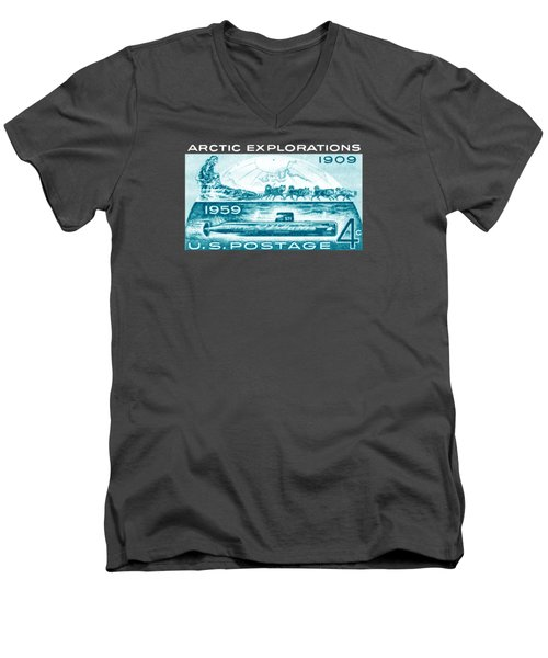 Men's V-Neck T-Shirt featuring the painting 1959 Arctic Explorations by Historic Image