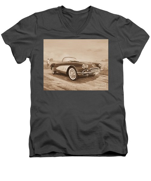 1959 Chevrolet Corvette Cabriollet In Sepia Men's V-Neck T-Shirt
