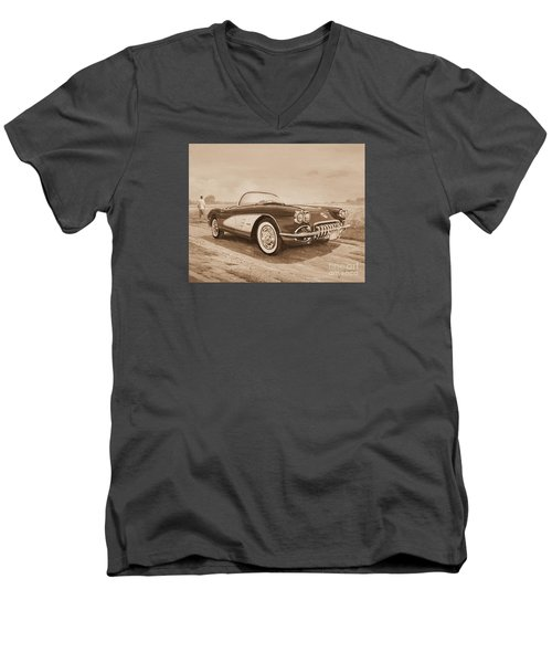 1959 Chevrolet Corvette Cabriollet In Sepia Men's V-Neck T-Shirt