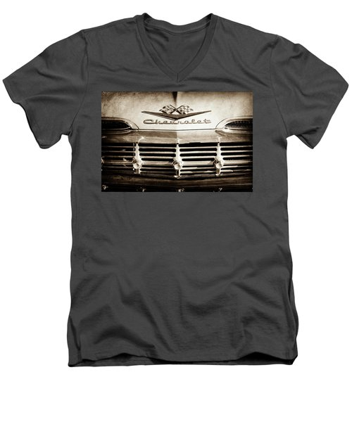 Men's V-Neck T-Shirt featuring the photograph 1959 Chevrolet Impala Grille Emblem -1014s by Jill Reger