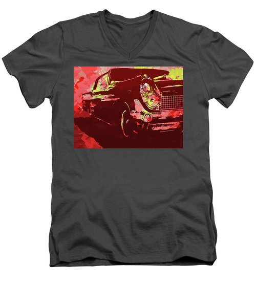 1959 Lincoln Continental Red Pop Men's V-Neck T-Shirt