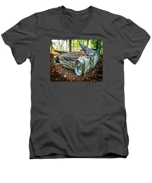 Men's V-Neck T-Shirt featuring the photograph 1960 Cadillac At Rest by Alan Raasch