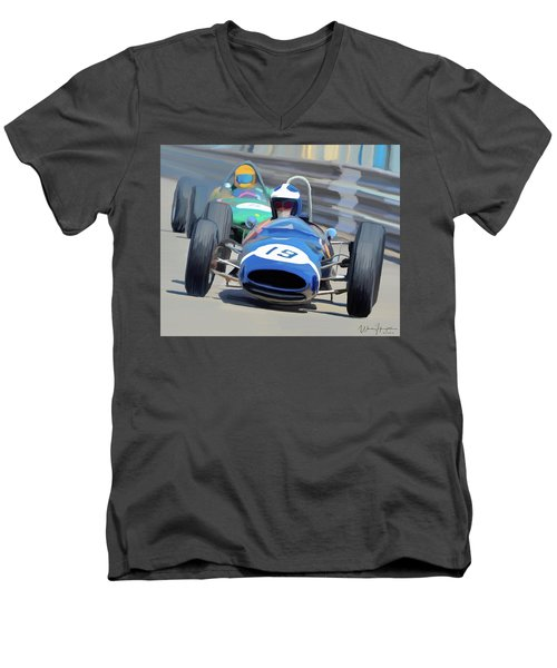 1963 Cooper T66 Coming Out Of Monaco's Mirabeau Men's V-Neck T-Shirt by Wally Hampton