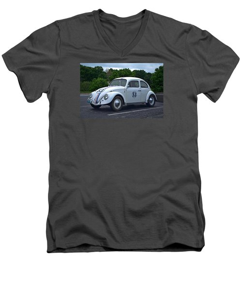Men's V-Neck T-Shirt featuring the photograph 1963 Vw Herbie  by Tim McCullough