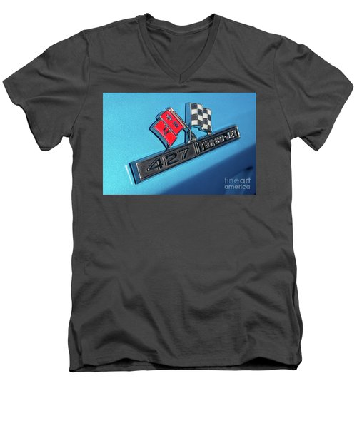 Men's V-Neck T-Shirt featuring the photograph 1965 Blue Corvette 427 Turbo Jet Emblem by Aloha Art