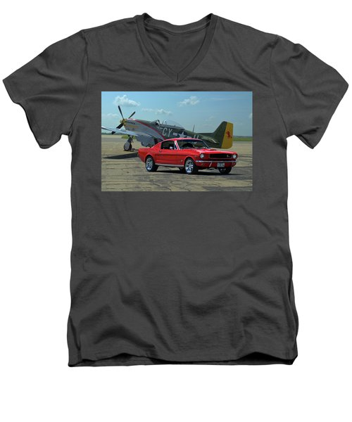 1965 Mustang Fastback And P51 Mustang Men's V-Neck T-Shirt