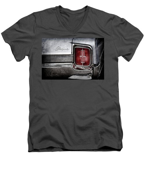 Men's V-Neck T-Shirt featuring the photograph 1965 Oldsmobile Starfire Taillight Emblem -0212ac by Jill Reger