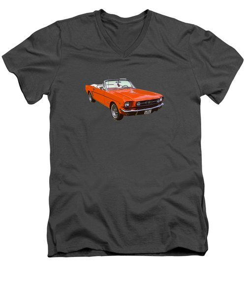 1965 Red Convertible Ford Mustang - Classic Car Men's V-Neck T-Shirt