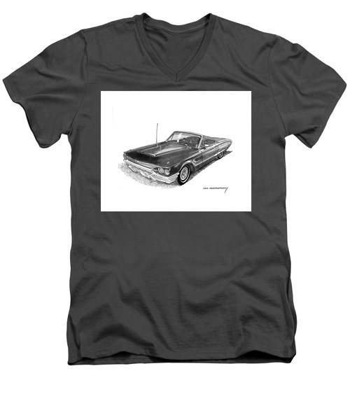 Men's V-Neck T-Shirt featuring the drawing 1965 Thunderbird Convertible By Ford by Jack Pumphrey