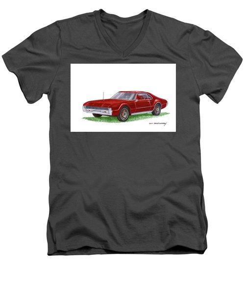 Men's V-Neck T-Shirt featuring the painting 1966 Oldsmobile Toronado by Jack Pumphrey