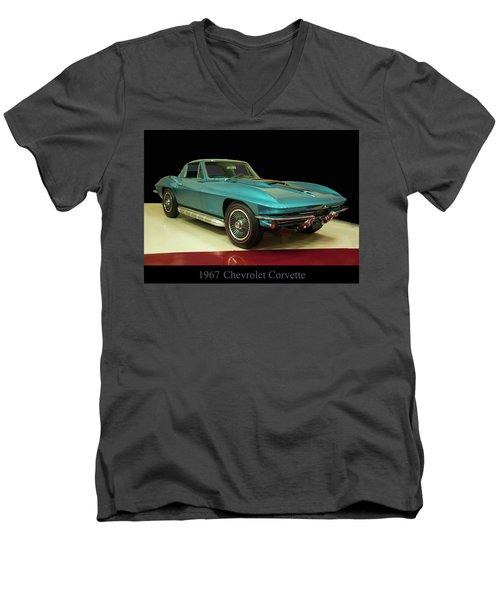 Men's V-Neck T-Shirt featuring the digital art 1967 Chevrolet Corvette 2 by Chris Flees