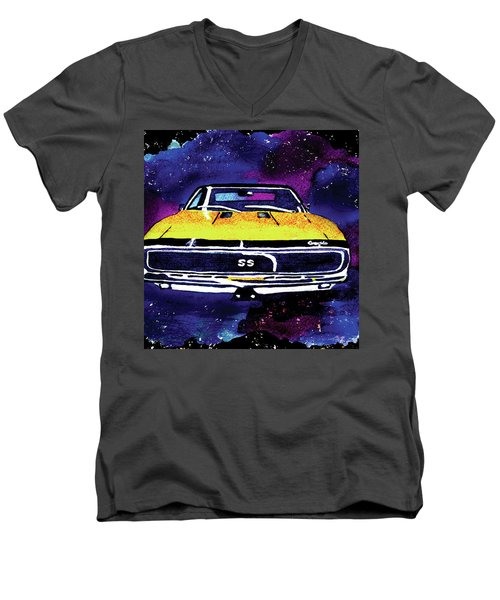 Men's V-Neck T-Shirt featuring the painting 1967 Chevy Camaro Ss by Paula Ayers