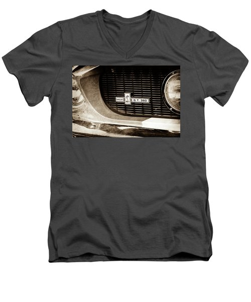 Men's V-Neck T-Shirt featuring the photograph 1967 Ford Gt 350 Shelby Clone Grille Emblem -0759s by Jill Reger