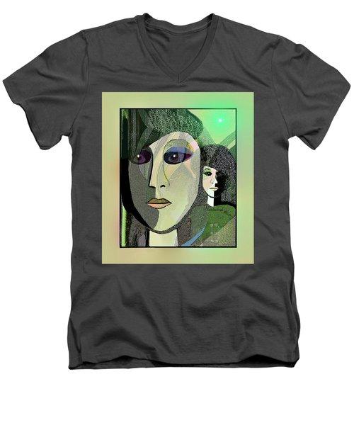 Men's V-Neck T-Shirt featuring the digital art 1968 - A Dolls Head by Irmgard Schoendorf Welch