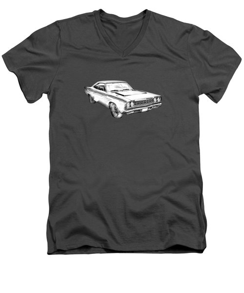 1968 Plymouth Roadrunner Muscle Car Illustration Men's V-Neck T-Shirt by Keith Webber Jr
