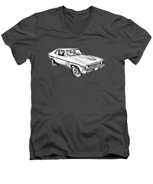 1969 Chevrolet Nova Yenko 427 Muscle Car Illustration Men's V-Neck T-Shirt