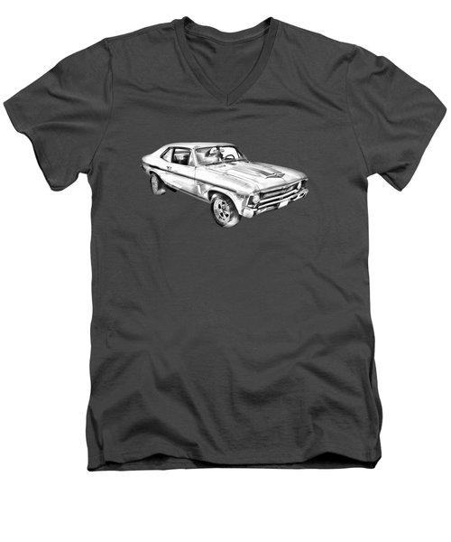 1969 Chevrolet Nova Yenko 427 Muscle Car Illustration Men's V-Neck T-Shirt