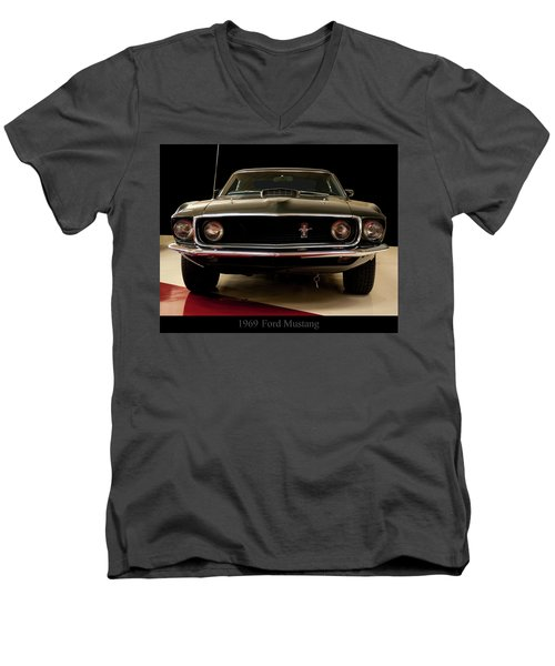 Men's V-Neck T-Shirt featuring the digital art 1969 Ford Mustang by Chris Flees
