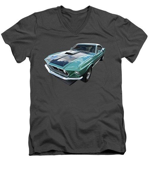 1969 Green 428 Mach 1 Cobra Jet Ford Mustang Men's V-Neck T-Shirt