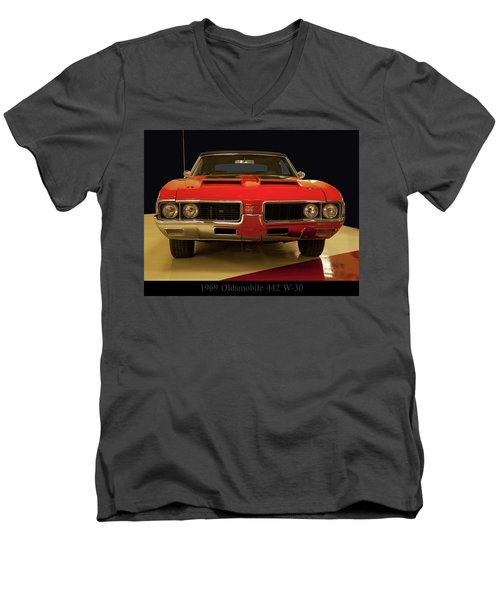 Men's V-Neck T-Shirt featuring the photograph 1969 Oldsmobile 442 W-30 by Chris Flees