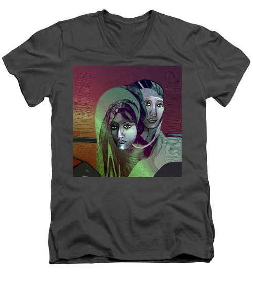 Men's V-Neck T-Shirt featuring the digital art 1972 - 0n A Gloomy Day - 2017 by Irmgard Schoendorf Welch