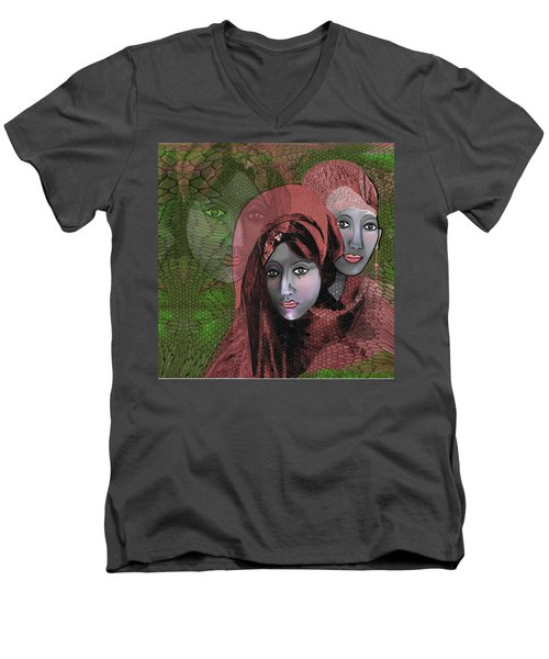 Men's V-Neck T-Shirt featuring the digital art 1974 - Women In Rosecoloured Clothes - 2017 by Irmgard Schoendorf Welch