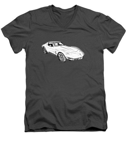 1975 Corvette Stingray Sports Car Illustration Men's V-Neck T-Shirt