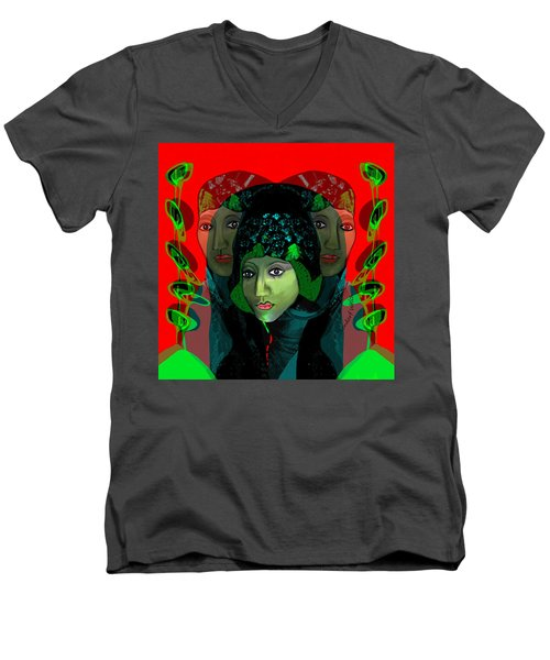 Men's V-Neck T-Shirt featuring the digital art 1975 - Mystery Woman by Irmgard Schoendorf Welch