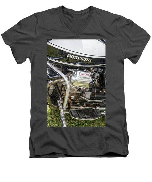 Men's V-Neck T-Shirt featuring the photograph 1976 Moto Guzzi V1000 Convert by Roger Mullenhour