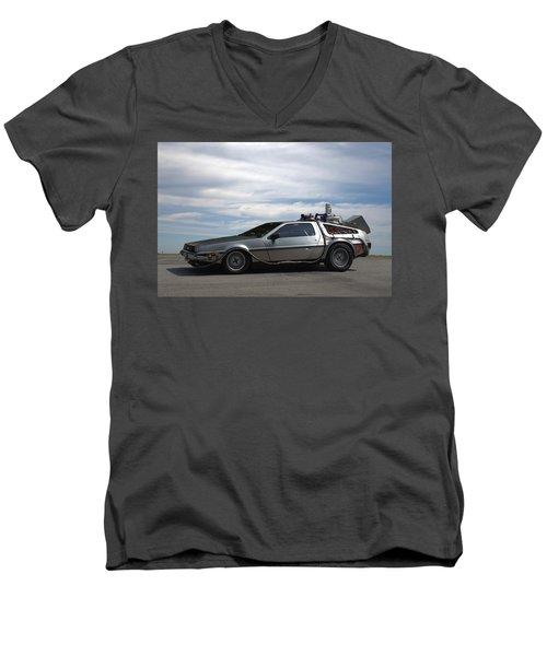 Men's V-Neck T-Shirt featuring the photograph 1981 Delorean Dmc12 by Tim McCullough