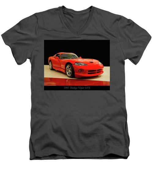 Men's V-Neck T-Shirt featuring the digital art 1997 Dodge Viper Gts Red by Chris Flees