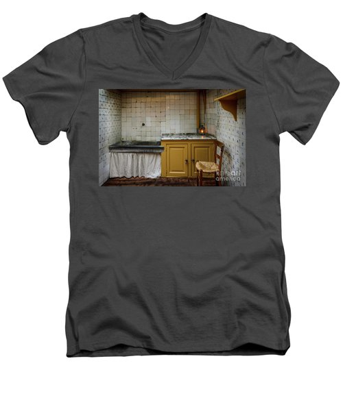 Men's V-Neck T-Shirt featuring the photograph 19th Century Kitchen In Amsterdam by RicardMN Photography