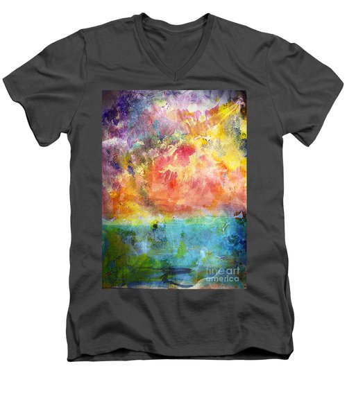 Men's V-Neck T-Shirt featuring the painting 1c Abstract Expressionism Digital Painting by Ricardos Creations