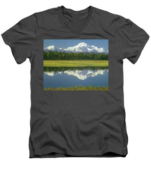 1m1325 Mt. Hunter And Mt. Denali Men's V-Neck T-Shirt