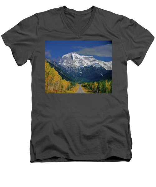 1m2441-h Mt. Robson And Yellowhead Highway H Men's V-Neck T-Shirt