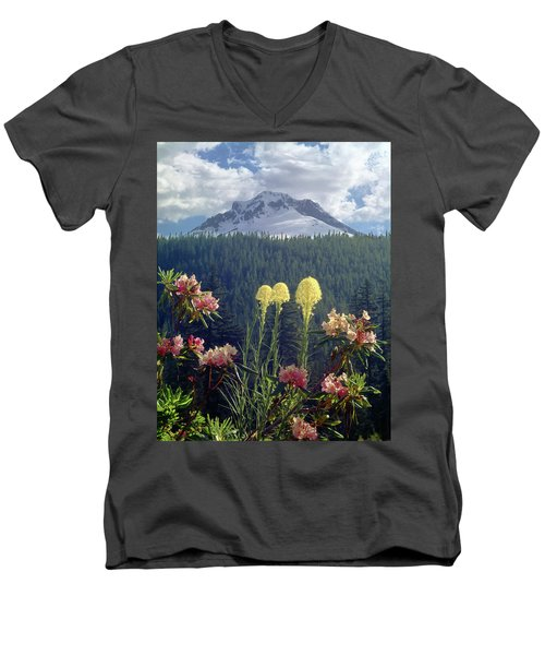 1m5101 Flowers And Mt. Hood Men's V-Neck T-Shirt