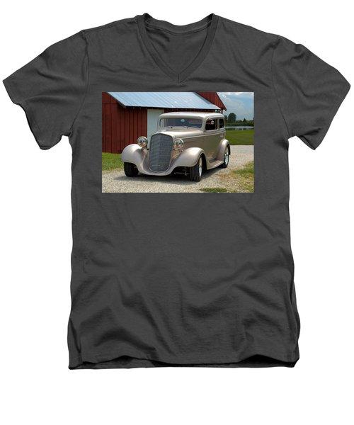 1934 Chevrolet Sedan Hot Rod Men's V-Neck T-Shirt