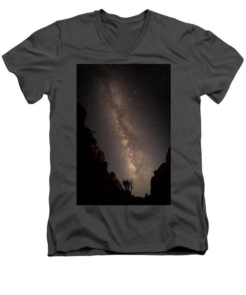A Dark Night In Zion Canyon Men's V-Neck T-Shirt
