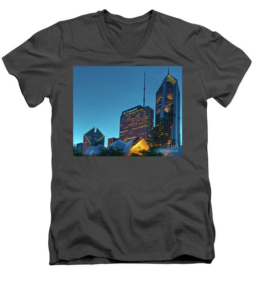 A View From Millenium Park At Dusk Men's V-Neck T-Shirt