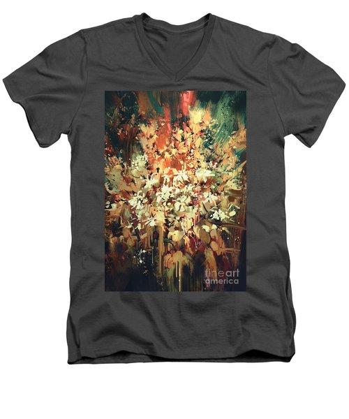 Abstract Flowers Men's V-Neck T-Shirt