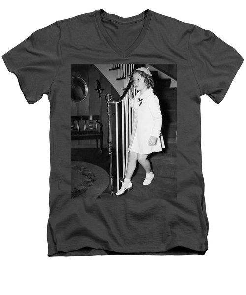 Actress Shirley Temple Men's V-Neck T-Shirt by Underwood Archives