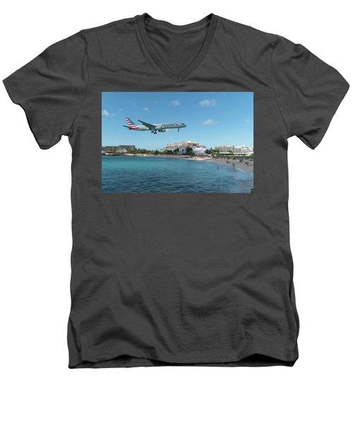 American Airlines Landing At St. Maarten Men's V-Neck T-Shirt