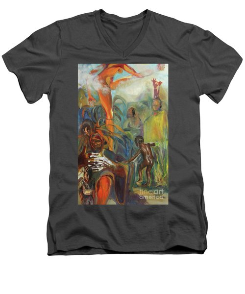Ancestor Dance Men's V-Neck T-Shirt by Daun Soden-Greene