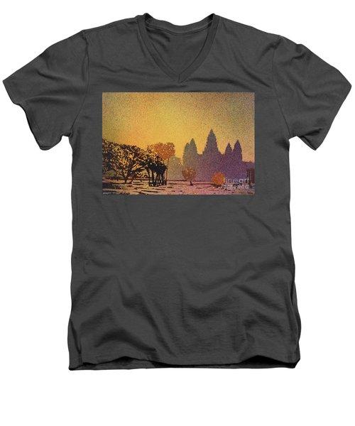 Angkor Sunrise Men's V-Neck T-Shirt by Ryan Fox